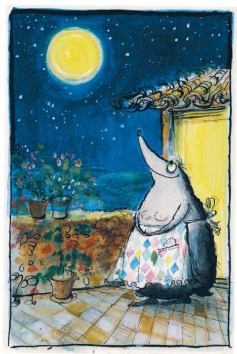 La señora Topo mirando a la luna