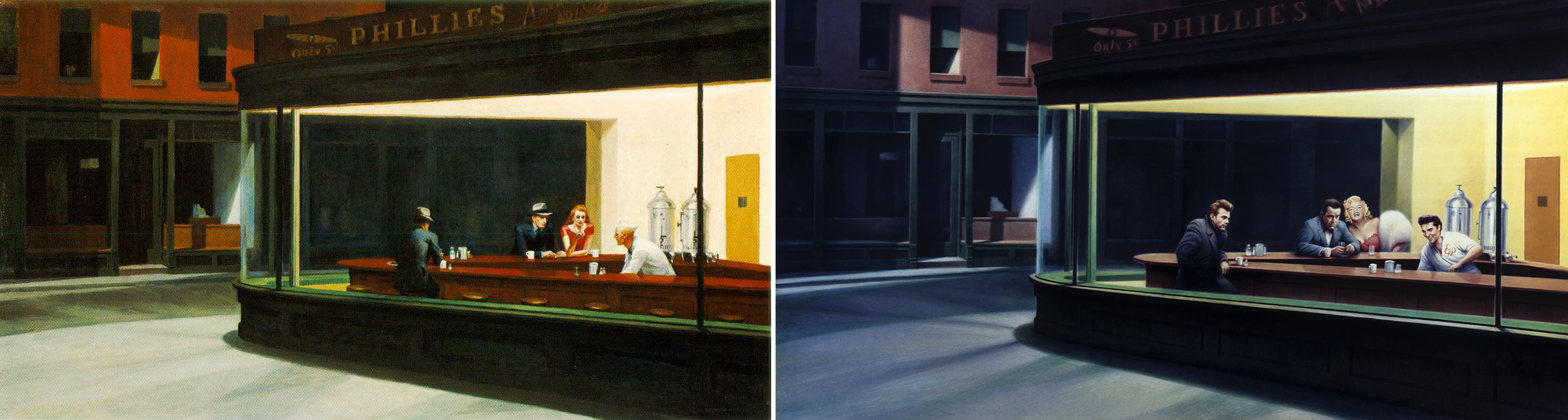 "Izquierda, ""Nighthawks"" (Edward Hopper, 1942). Derecha, ""Boulevard of Broken Dreams"" (Gottfried Helnwein, 1987)"
