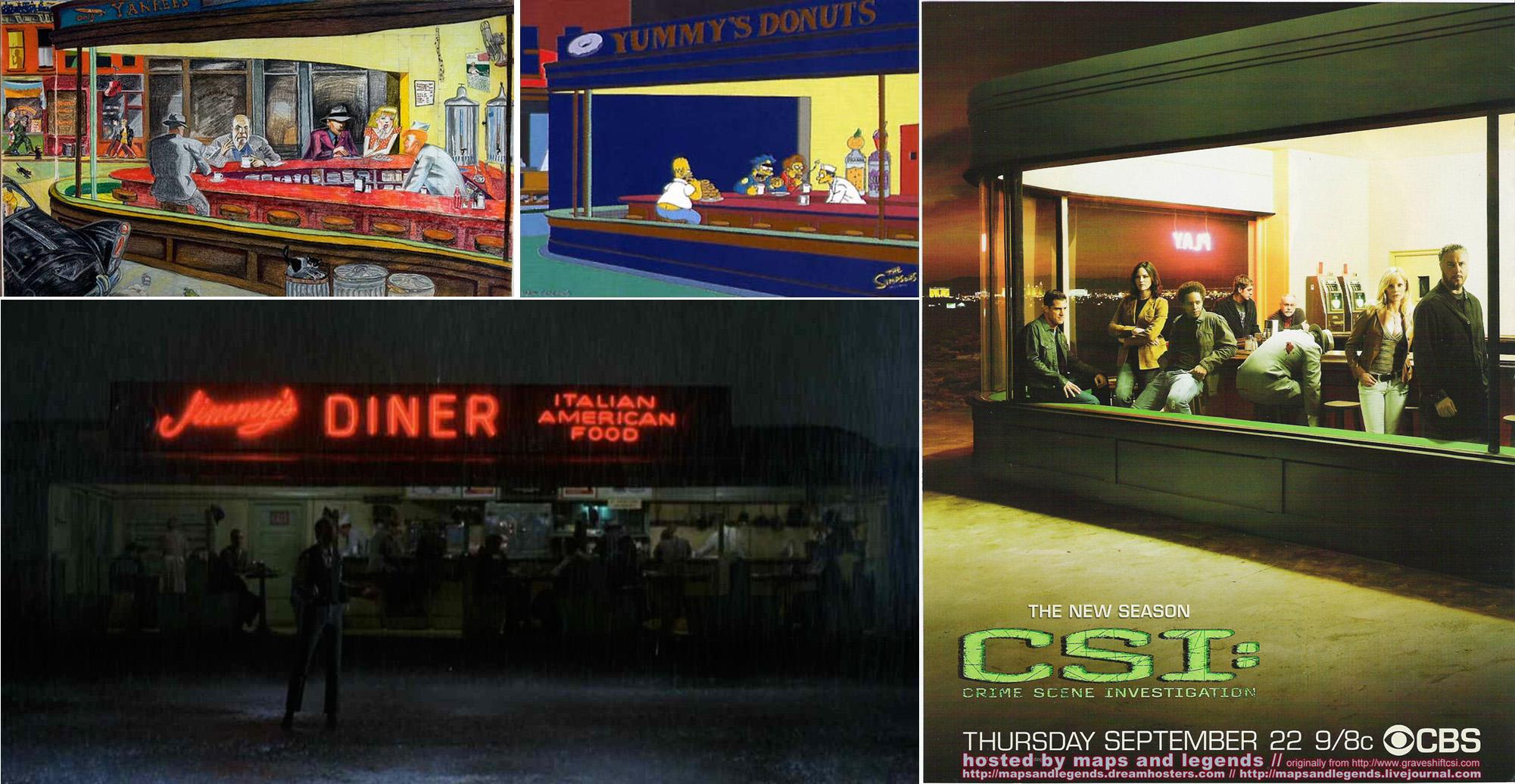 """Desde arriba a la izquierda, en el sentido de las agujas del reloj, obra de Red Grooms, imagen de 'Los Simpson', póster de la serie 'CSI' y fotograma de la película """"Pennies from Heaven"""""""
