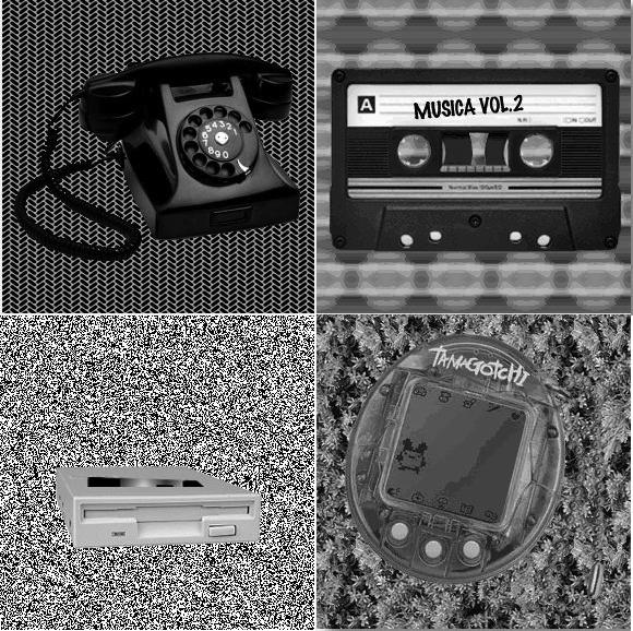 Un teléfono de rueda, un casette, una disquetera y un tamagotchi