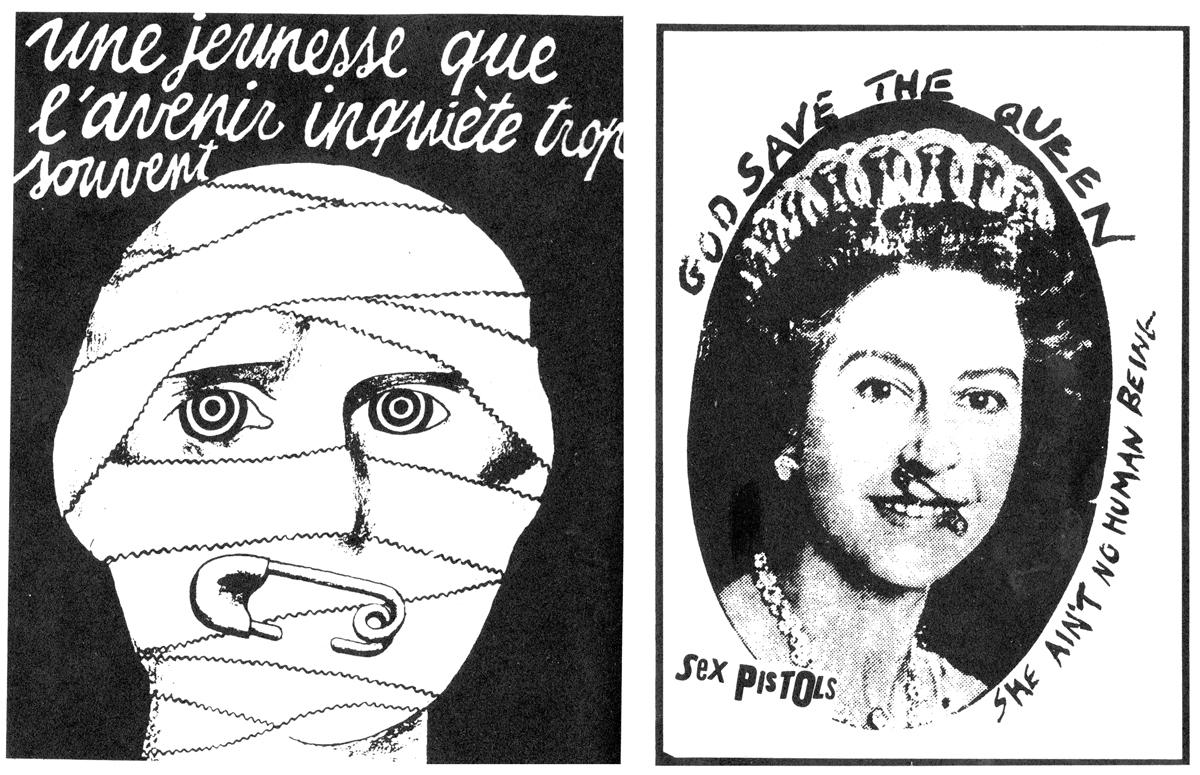 Póster de la revuelta de mayo de 1968 en París y cartel de los Sex Pistols (Jamie Reid, 1977)
