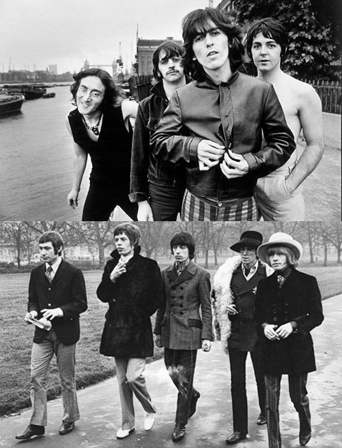 Arriba, The Beatles (1968). Abajo, The Rolling Stones (1967)