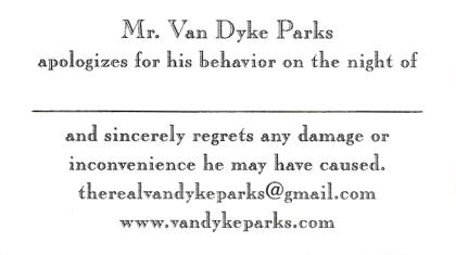 Tarjeta de visita de Van Dyke Parks