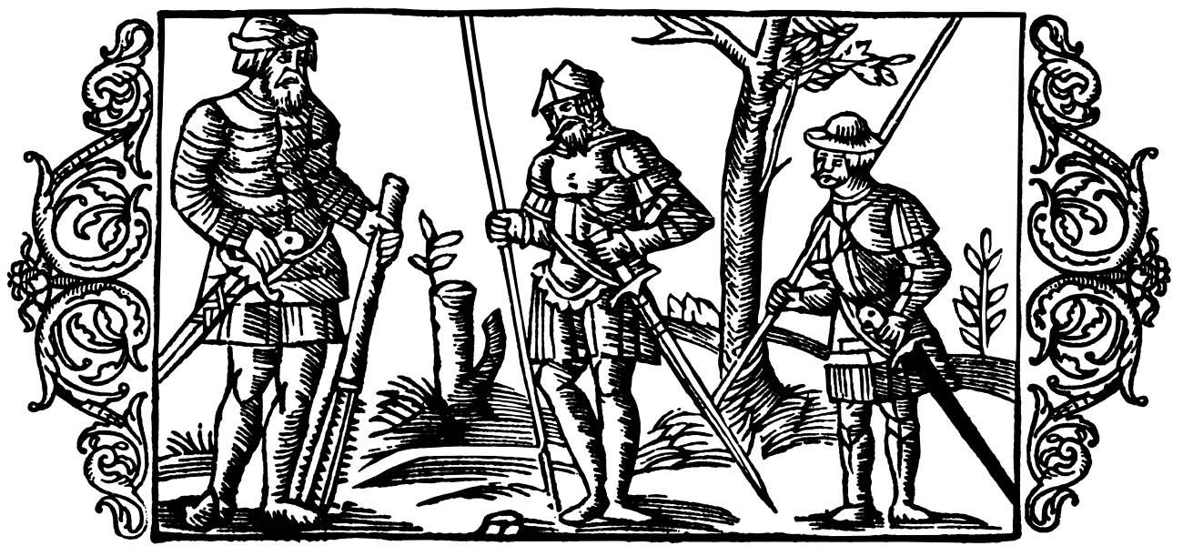 """""""Diferencias entre los gigantes y los guerreros"""" (grabado escandinavo de 1555)"""