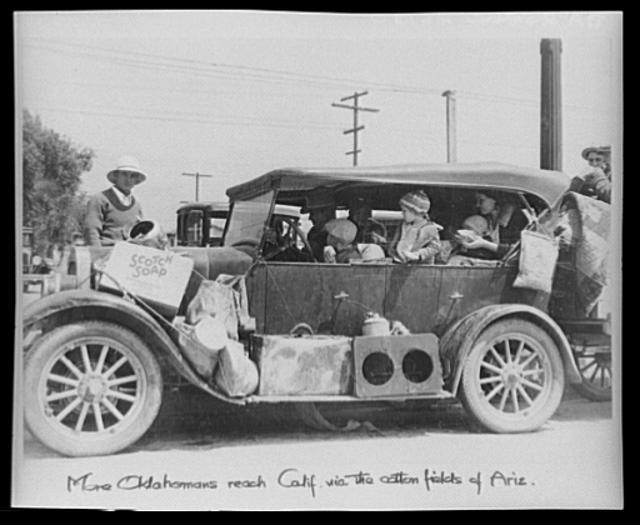 Refugiados de la Dust Bowl en San Fernando, California. Foto: Dorothea Lange, 1935
