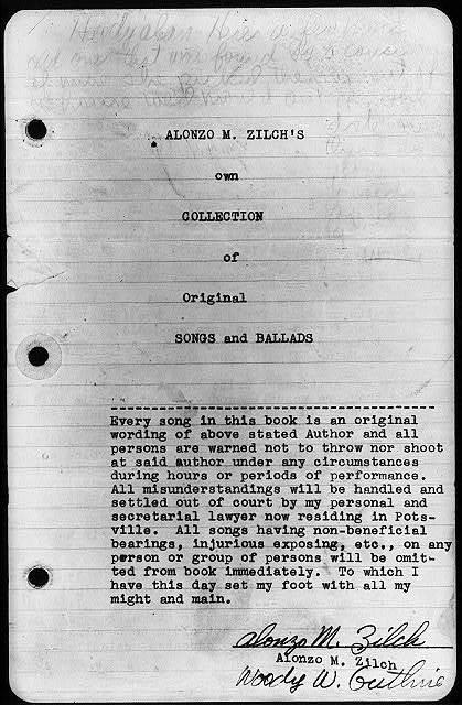 """Primeras """"canciones y baladas"""" de Alonzo M. Zilch, 1935"""