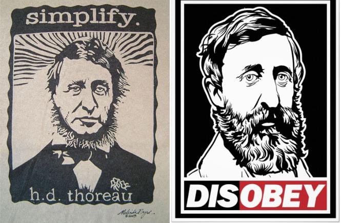 Un par de carteles con mensajes basados en los libros de Thoreau