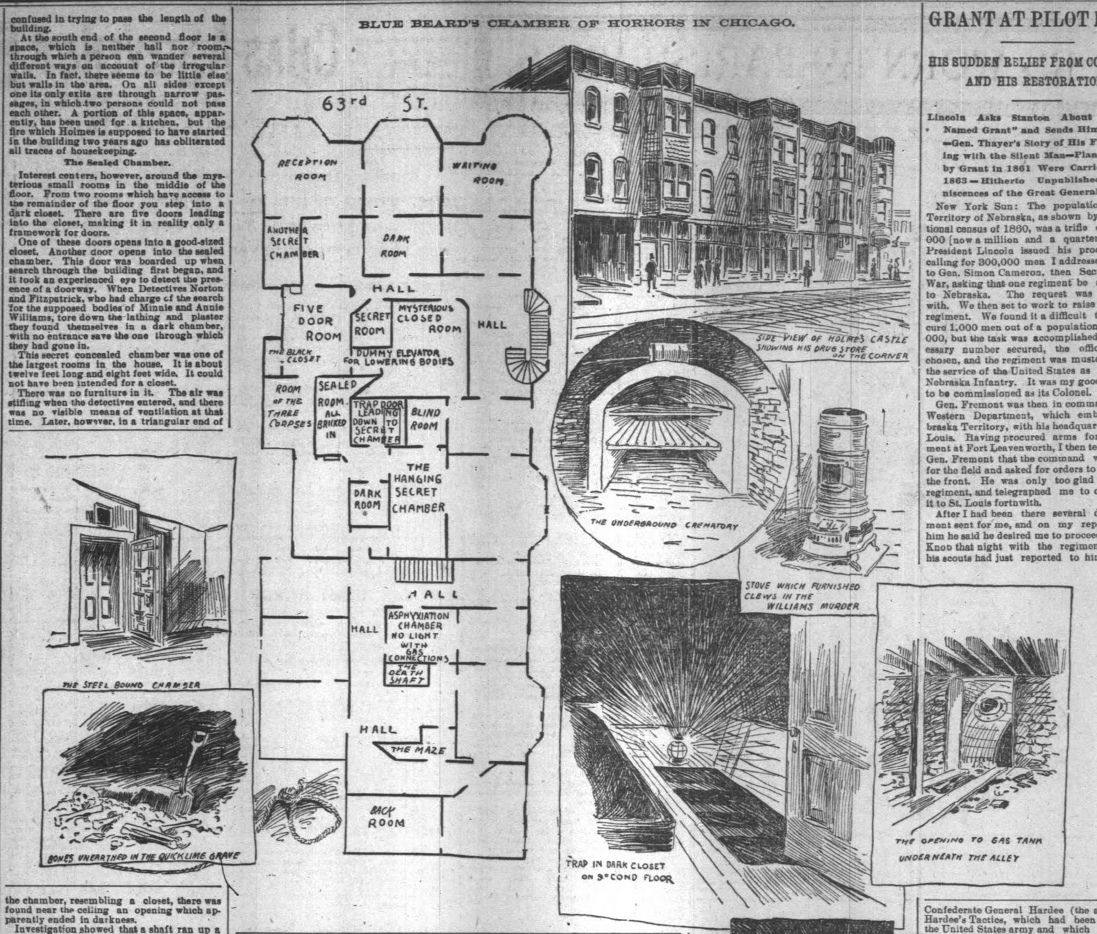 El 'castillo del crimen' de H.H. Holmes en una ilustración del Chicago Tribune de 1895