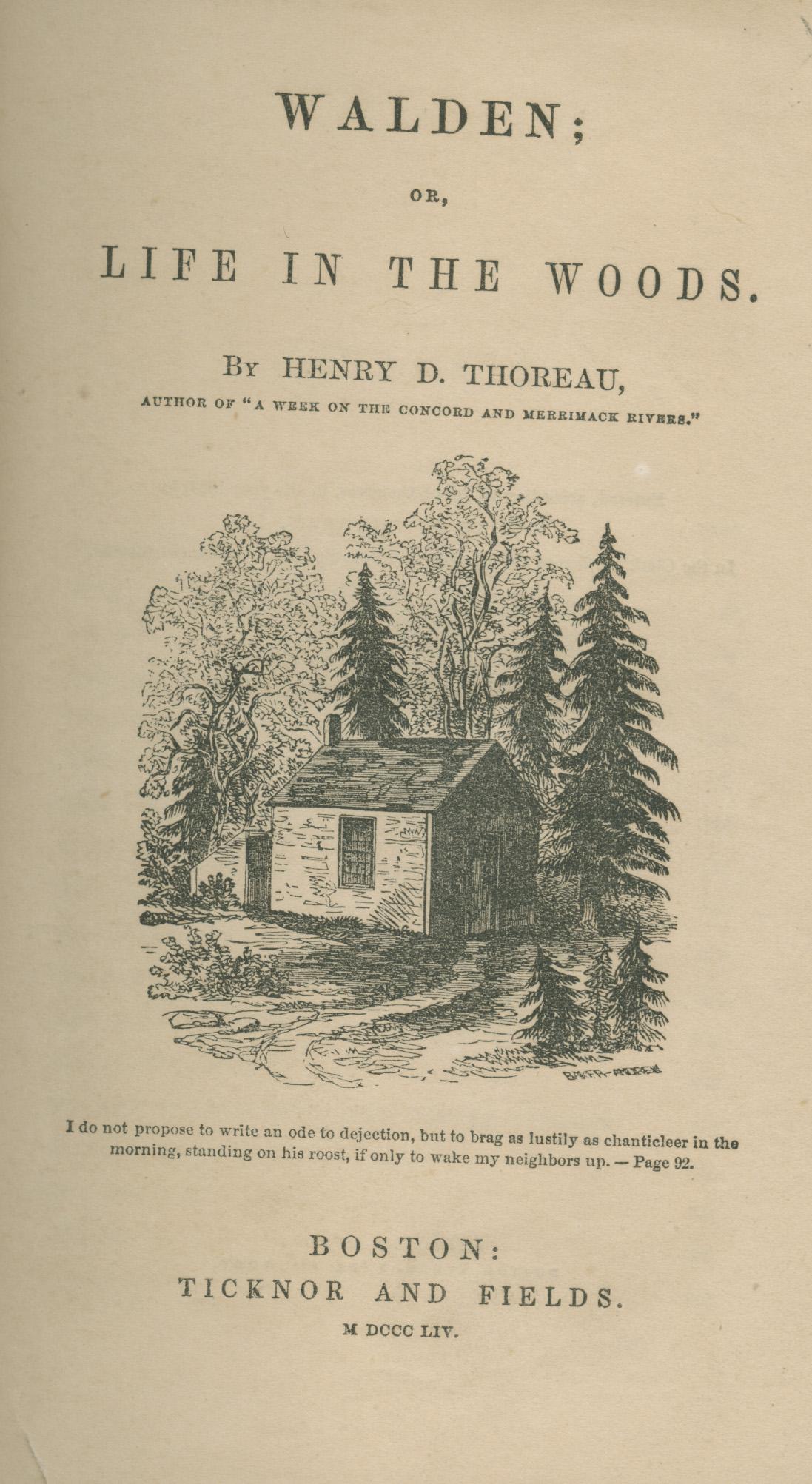 """""""Walden; or, Life in the Woods"""", primera edición, 1854"""