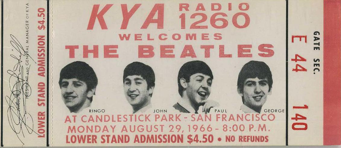 Ticket de entrada del último concierto de los Beatles