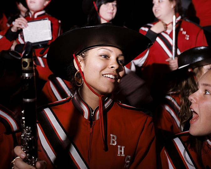 Melissa Cruz practica con la Brockton High School Marching Band (Foto: Mary Beth Mehan)