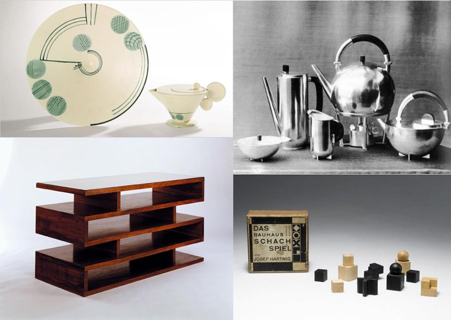 Cuatro diseños de los talleres de la Bauhaus