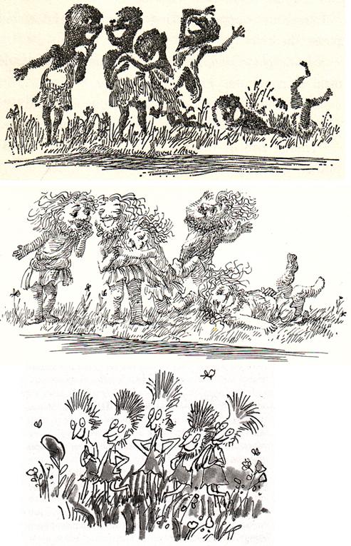 Los Umpa Lumpa ilustrados por Joseph Schindelman en 1964 y en 1973. Abajo, imaginados por Quentin Blake en 1998
