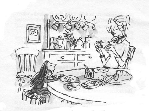 Quentin Blake dibuja a Matilda con la señorita Honey