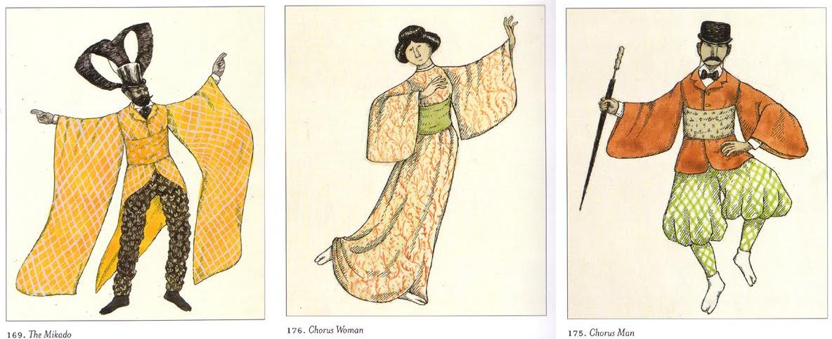 Diseños para el vestuario de 'Mikado'