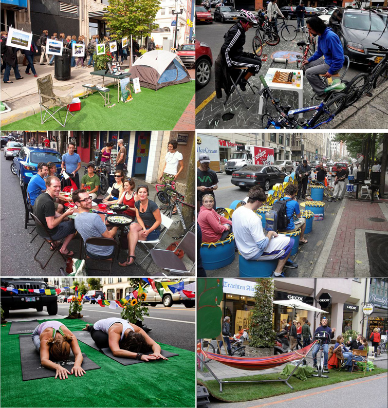 Park(ing) Day en Flint (Michigan-EE UU), Bogotá (Colombia), Vancouver (Canadá), Dallas (Texas, EE UU), San Francisco (California, EE UU) y Múnich (Alemania)