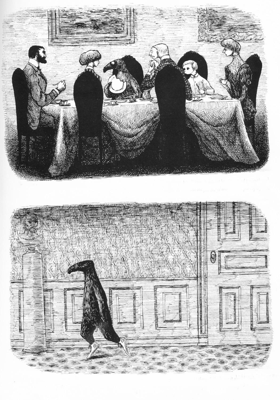 Dos ilustraciones de 'The dubious guest'