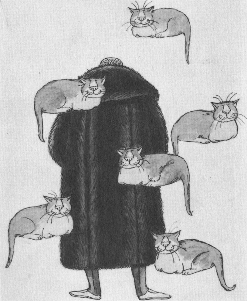Autorretrato de Gorey con sus amados gatos