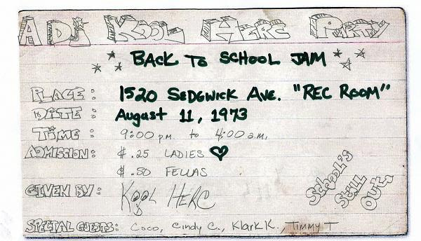 El flyer de la fiesta en la que nació el hip hop