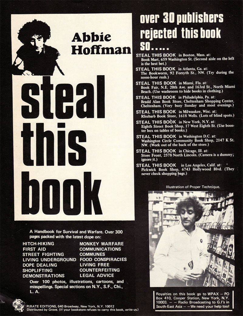 "Anuncio de ""Steal This Book"", 1971"