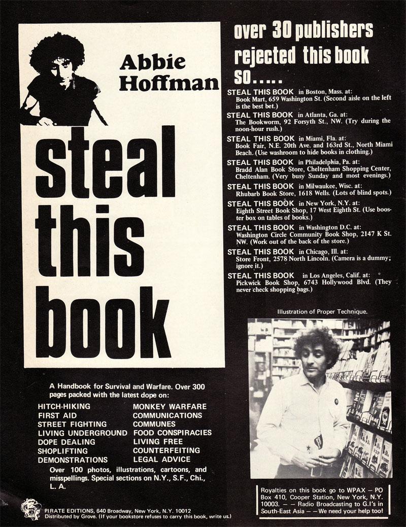 """Anuncio de """"Steal This Book"""", 1971"""
