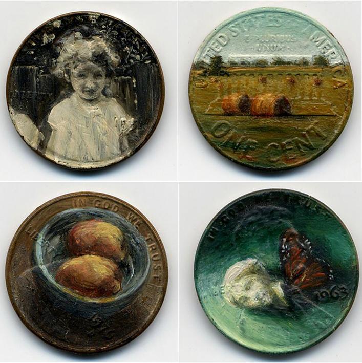 Monedas de centavo ilustradas por Jacqueline Skaggs