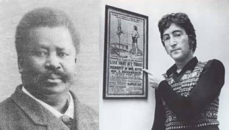 Pablo Fanque (izquierda) y Lennon con su copia del cártel