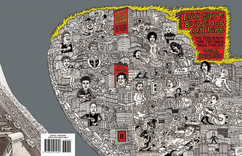"""Ilustración de la cubierta y la tapa posterior de """"Love Goes to Buildings on Fire"""""""