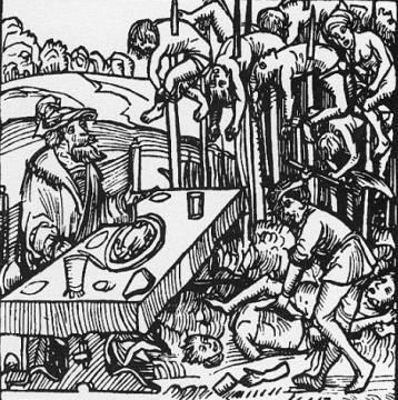 Detalle de un grabado de 1499 que muestra a Vlad Tepes con sus víctimas
