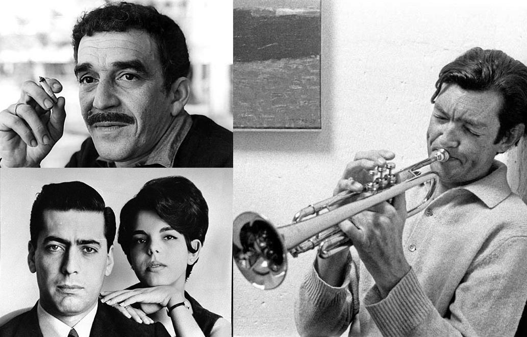 A la derecha, Cortázar. A la izquierda arriba, García Márquez. Abajo, Vargas Llosa y su segunda mujer, Patricia.
