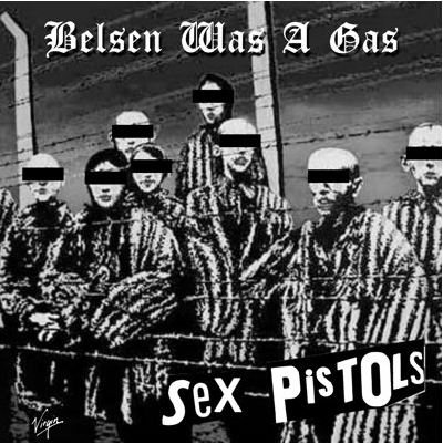"Carpeta de un single pirata de los Sex Pistols con ""Belsen Was a Gas"""