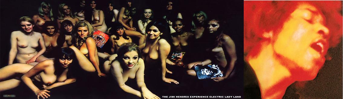 Portada inglesa (desplegable) y portada estadounidense de 'Electric Ladyland'