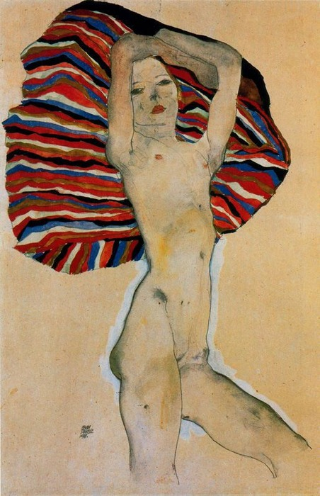 'Desnudo contrastado con telas de colores' (1911)