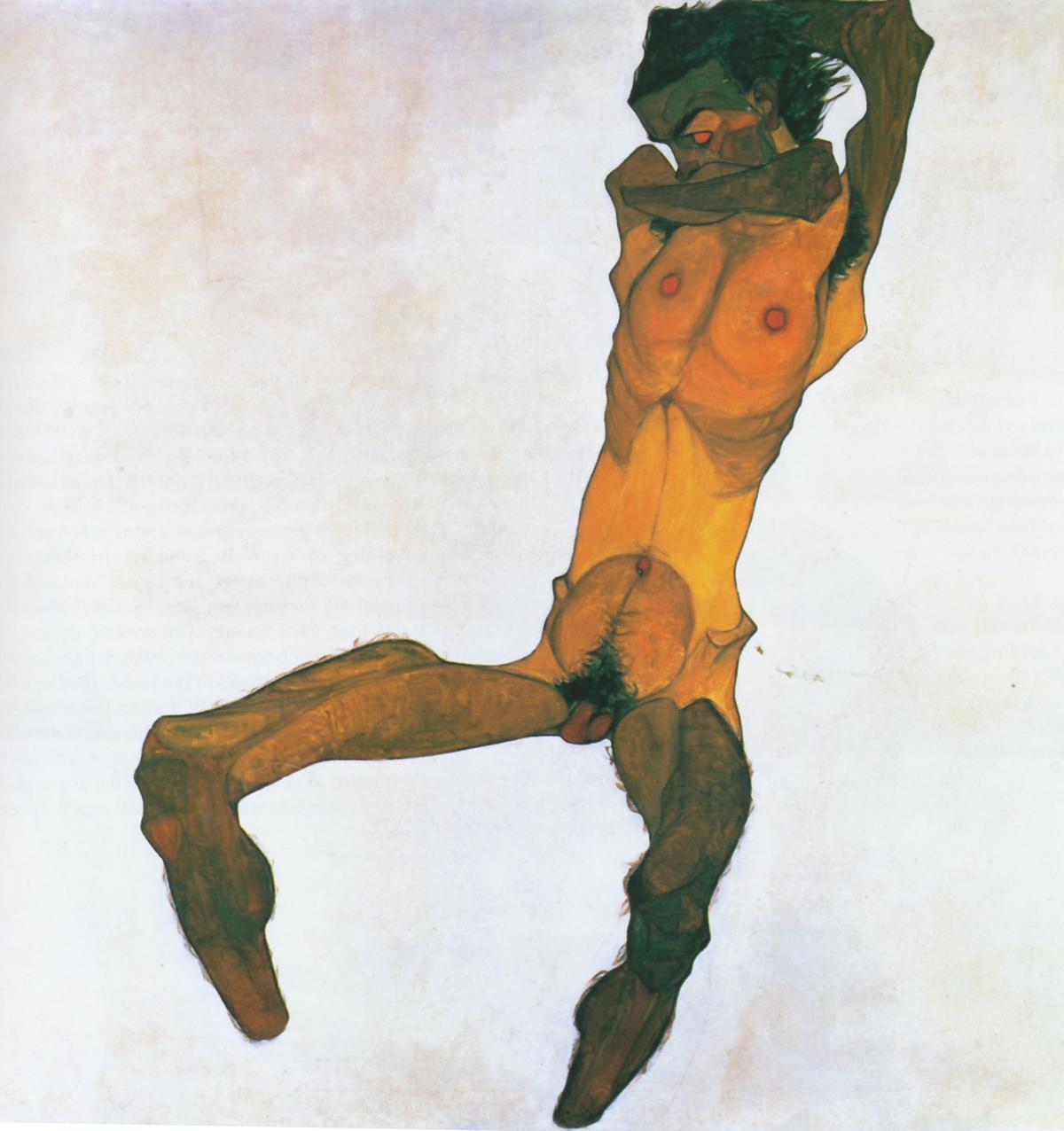 'Desnudo masculino sentado (Autorretrato)' - 1910