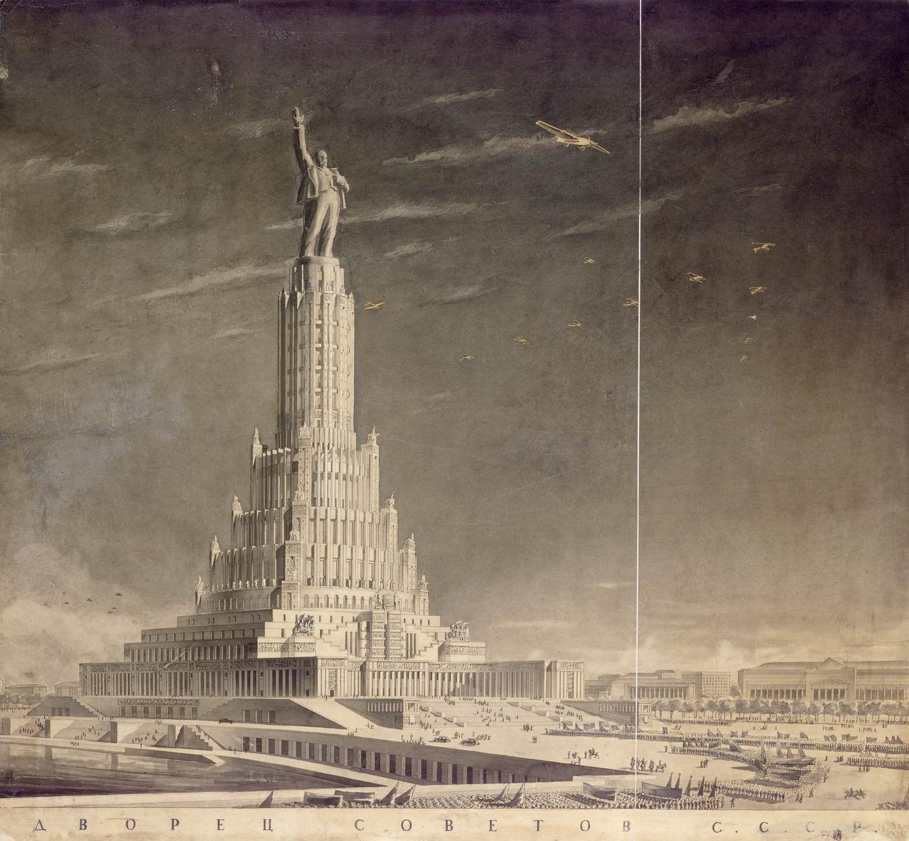 El Palacio de los Sóviets, una construcción megalómana diseñada en los años treinta para Moscú y que representaría los ideales del régimen soviético