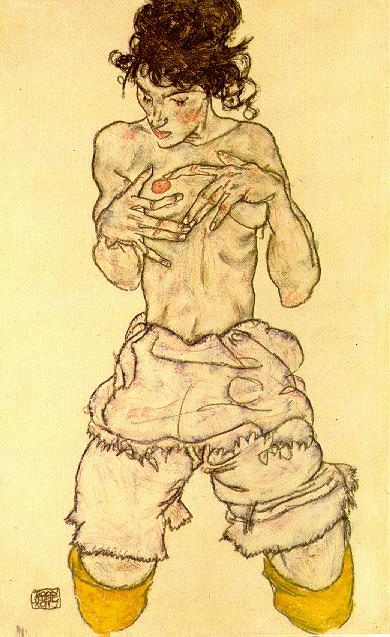'Semidesnudo arrodillado' (1917)