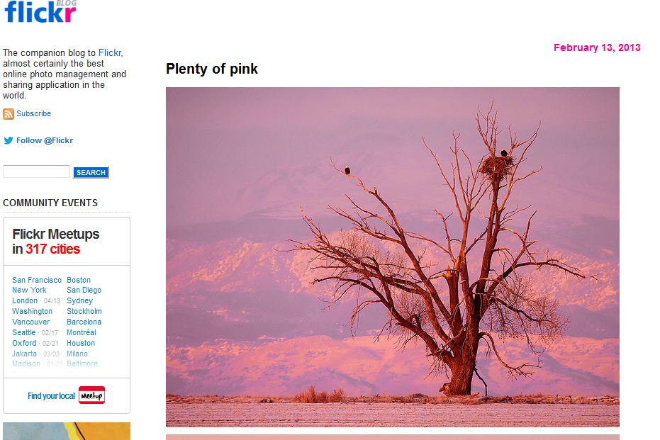 Captura del blog de Flickr