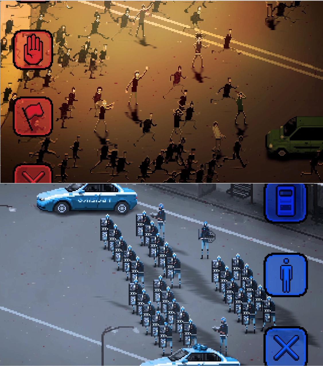 Dos de las imágenes del videojuego 'Riot'
