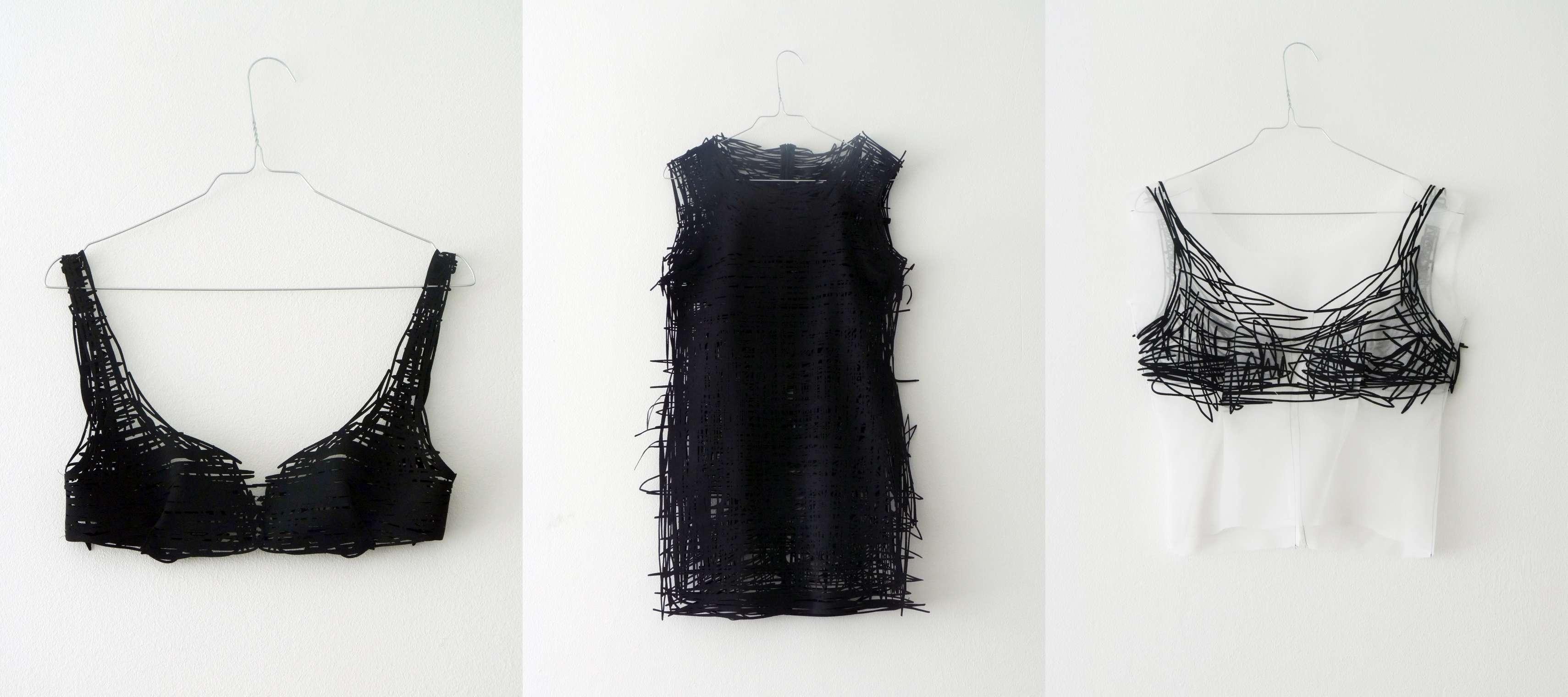 Tres de las prendas de la colección 'Drawn Pieces'