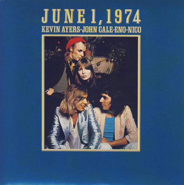 """Carpeta de  """"June 1, 1974"""". Desde arriba, Brian Eno, Nico, Ayers y John Cale"""