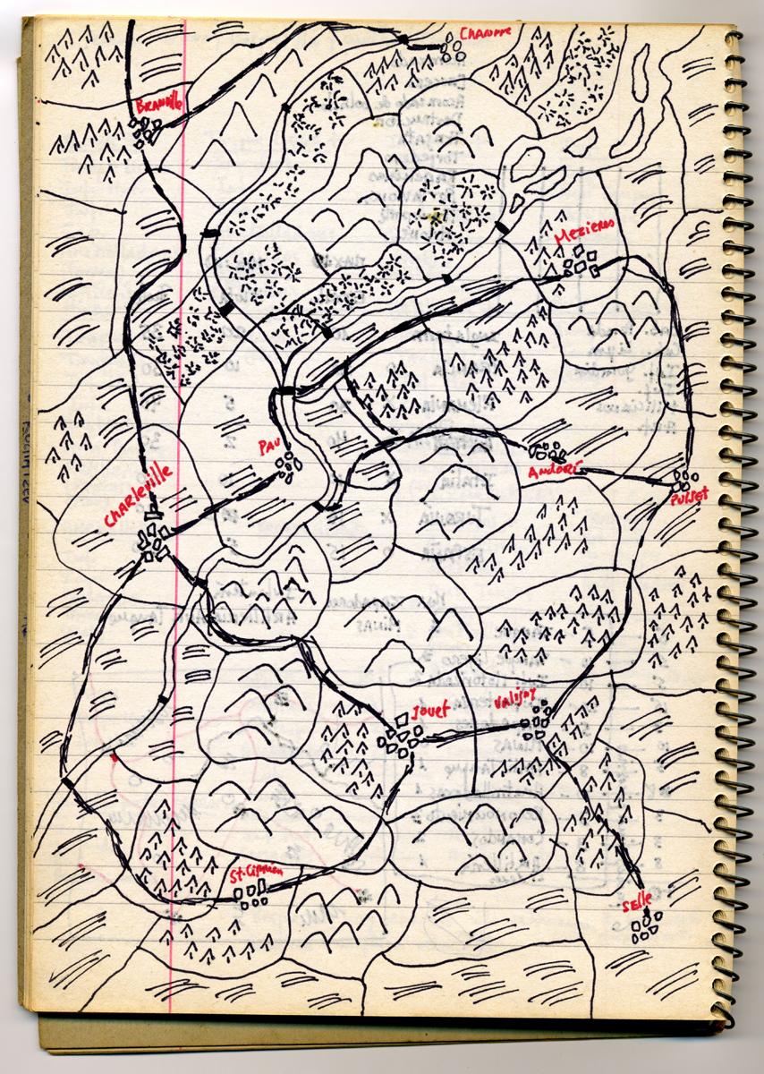 El Tercer Reich, mapa Manuscrit de Roberto Bolaño, 1986 Arxiu 17 – 83 © Hereus de Roberto Bolaño