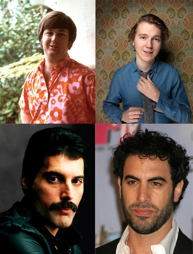 Arriba, Brian Wilson (izquierda) y Paul Dano. Abajo, Freddie Mercury (izquierda) y Sacha Baron Cohen