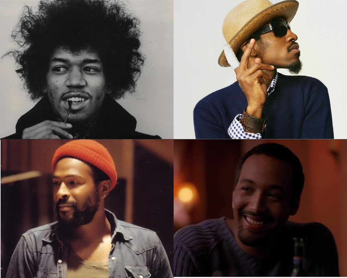 Arriba, Jimi Hendrix (izquierda) y Andre Benjamin. Abajo, Marvin Gaye (izquierda) y  Jesse L. Martin