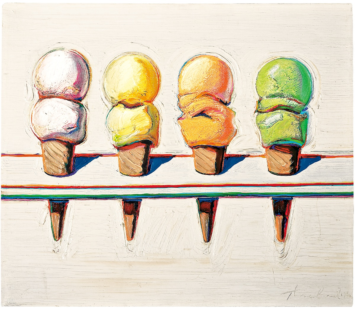 Wayne Thiebaud - Four Ice Cream Cones-1964