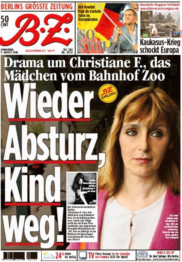 Christiane F. ahora en un tabloide alemán