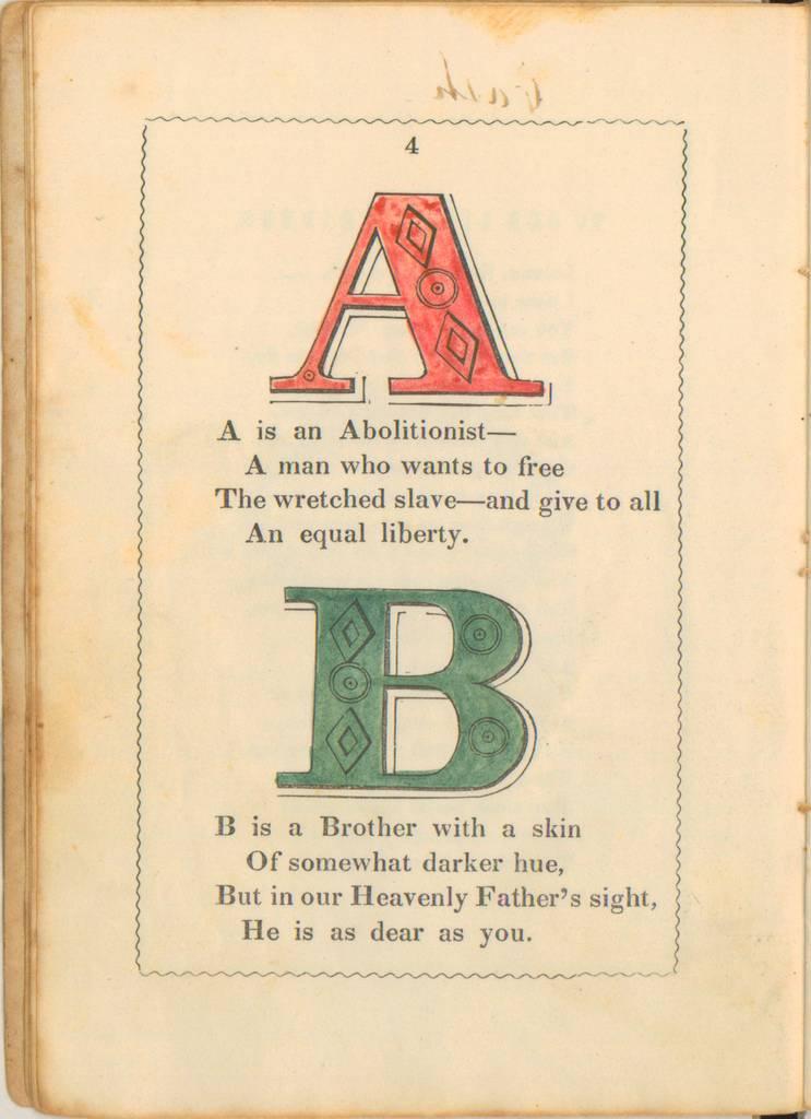 Letras A y B del 'Alfabeto antiesclavista' (1946)