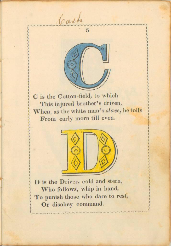 anti-slavery alphabet - C y D