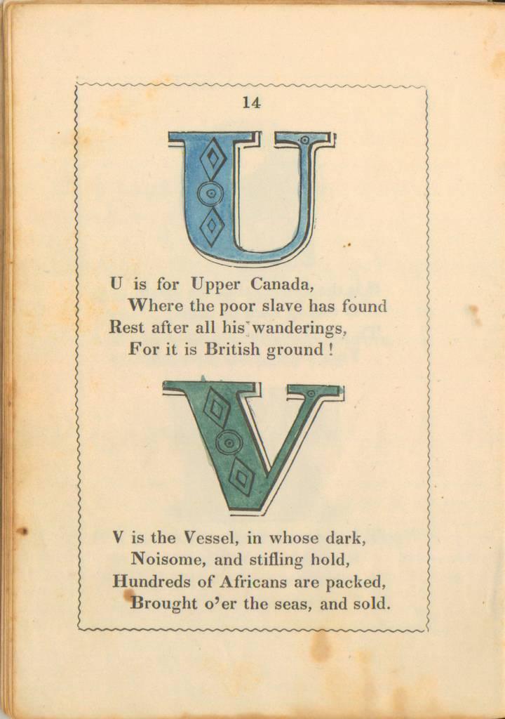 anti-slavery alphabet-Letters U y V