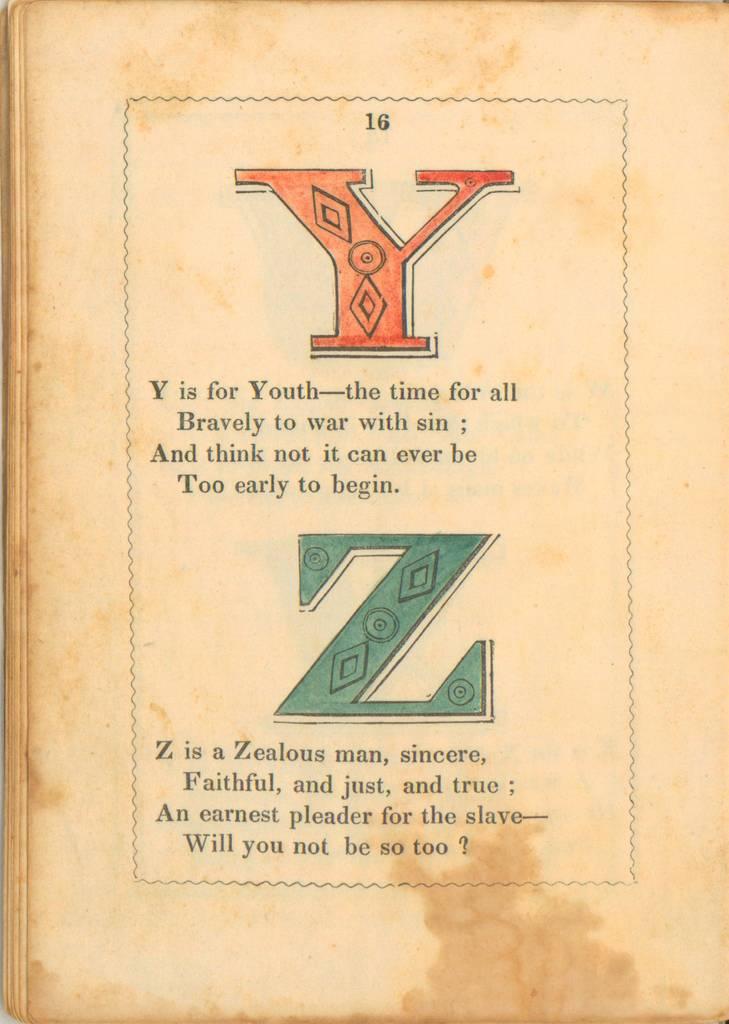 anti-slavery alphabet - Y y Z