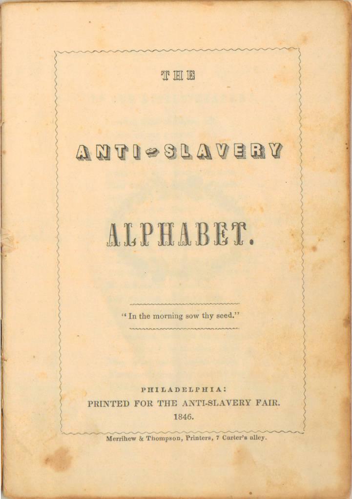 anti-slavery alphabet - cover